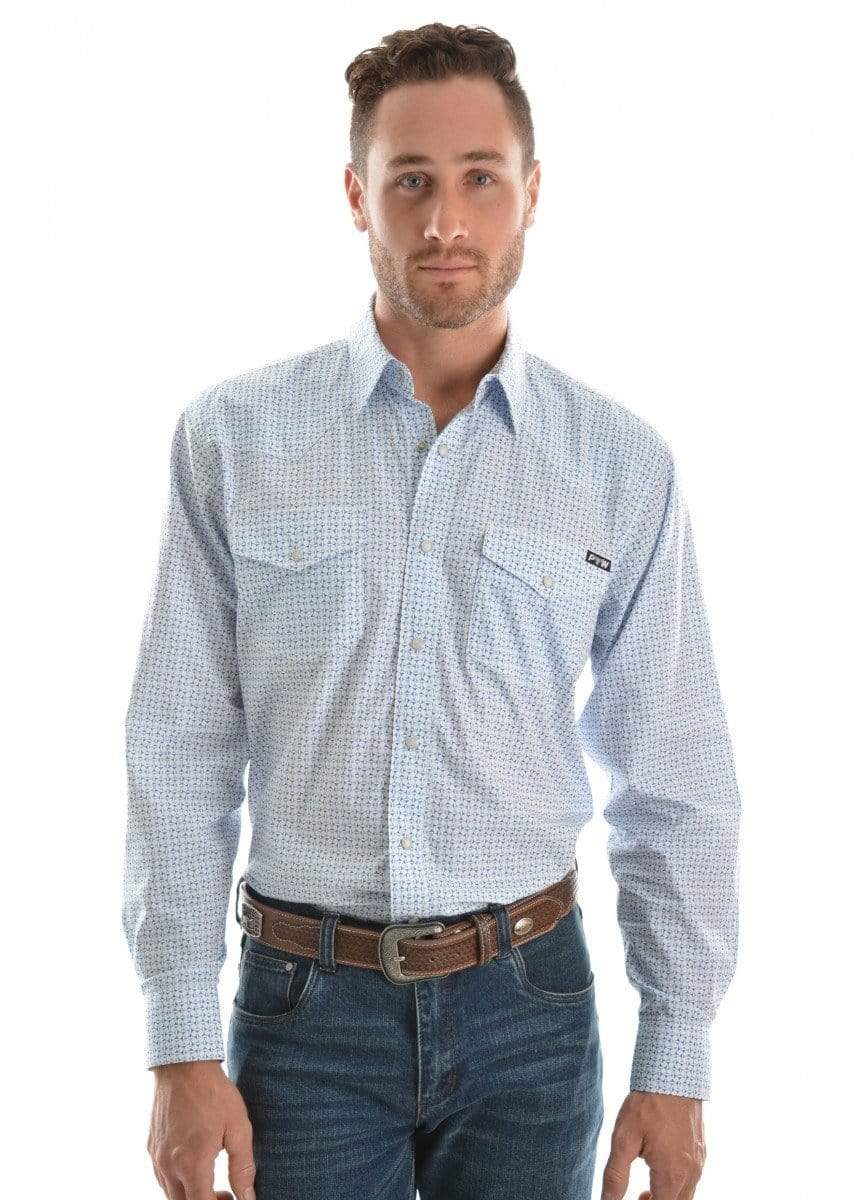 Pure Western Mens Bull Head Print Shirt White/Blue (P9S1100253) S - Gympie Saddleworld & Country Clothing