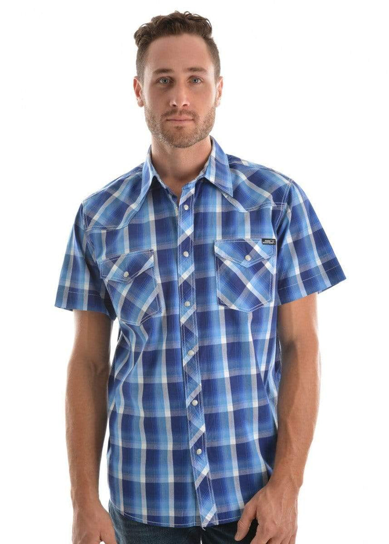 Pure Western Mens Shirts Pure Western Mens Gavin Check Shirt Blue (P9S1101161) S