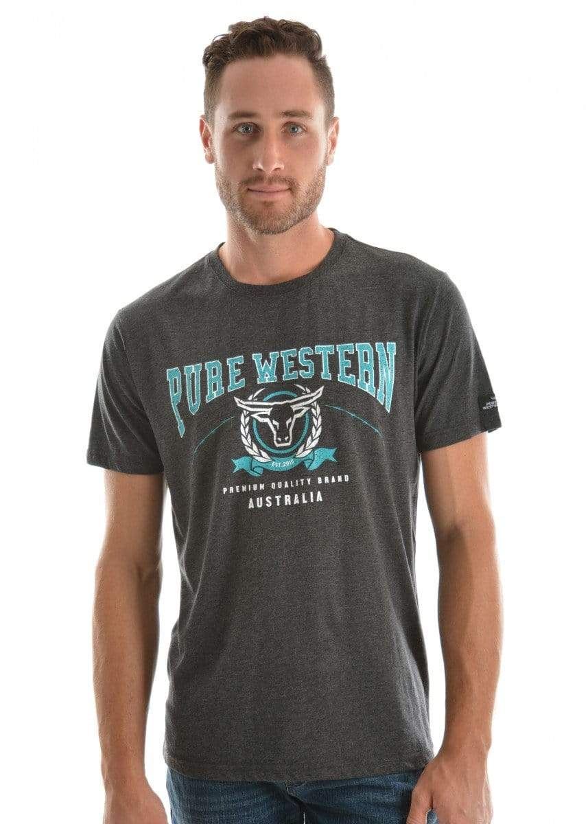 Pure Western Mens Jordan Tee Charcoal/Marle (P9S1503257) S - Gympie Saddleworld & Country Clothing