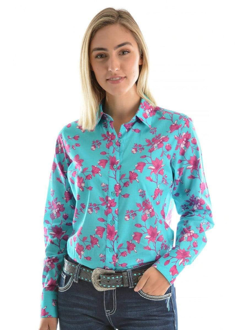 Pure Western Womens Annabelle Print Shirt Aqua/Deep Rose (P9S2120271) 8 - Gympie Saddleworld & Country Clothing