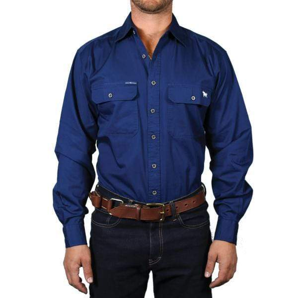 Ringers Western Mens Shirts X-large / Navy Ringers Western Mens King River Workshirt Navy 171110001
