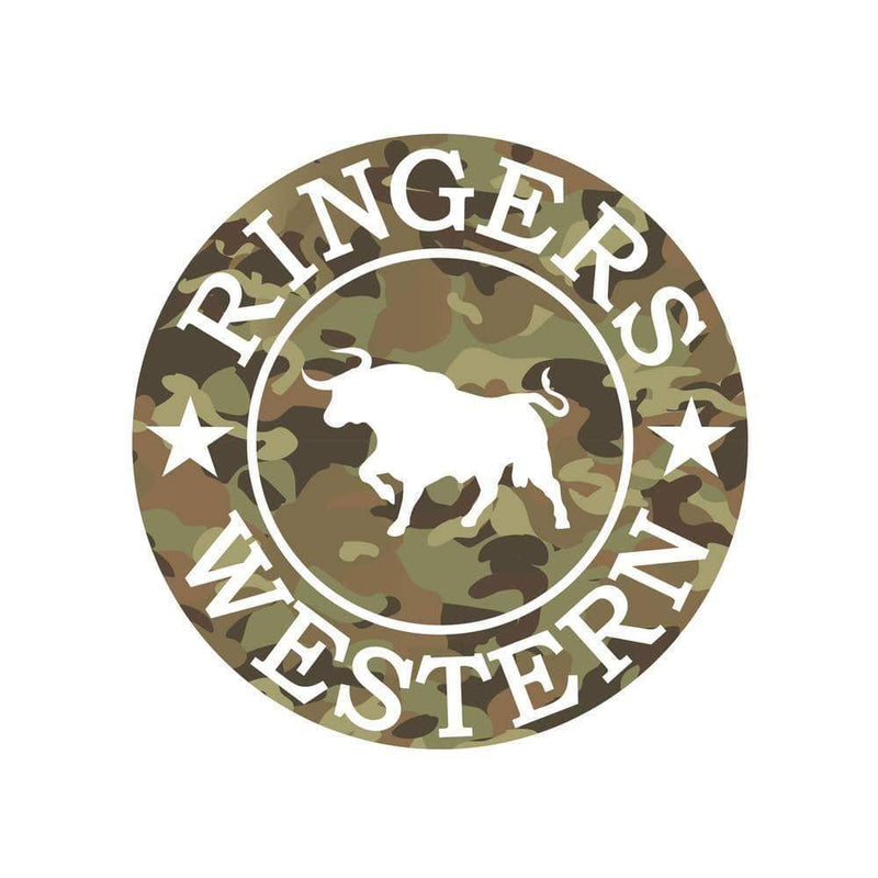 Ringers Western Camo Logo Stickers Round - Gympie Saddleworld & Country Clothing