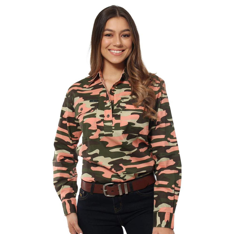 Ringers Western Womens Shirts 20 Ringers Western Limited Edition Half Button Workshirt Camo on Coral