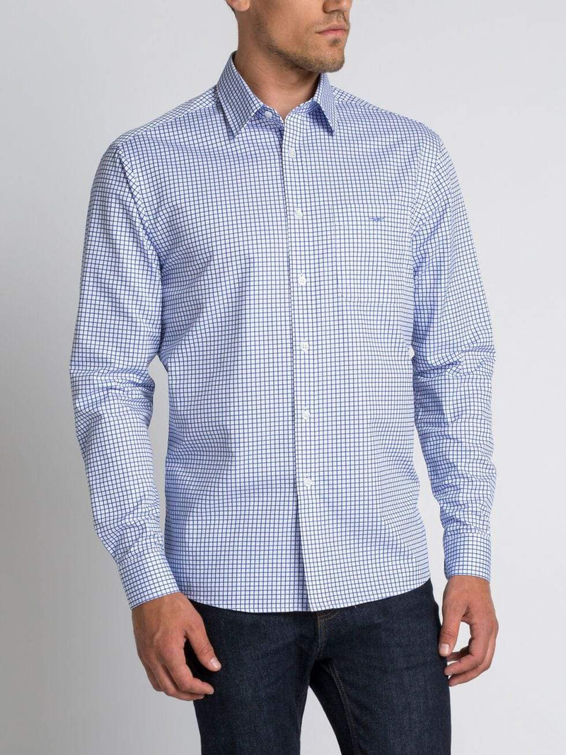 RMW Mens Shirts RMW Collins Mens Shirt Blue Stripe SH201PN7405