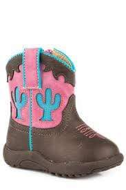Roper Boots Infants Cowbabies Cactus Brown & Pink (16226034) - Gympie Saddleworld & Country Clothing
