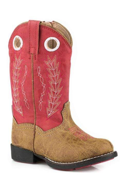 Roper Kids Boots Hole In The Wall Tan & Red (1822202) - Gympie Saddleworld & Country Clothing