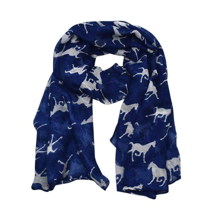 Running Horses Fashion Scarf Navy - Gympie Saddleworld & Country Clothing