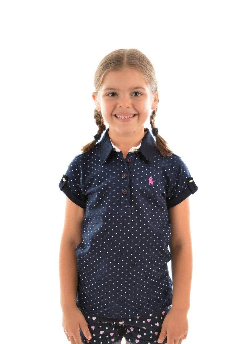 Thomas Cook Kids Shirts Girls Navy & White Spot Polo