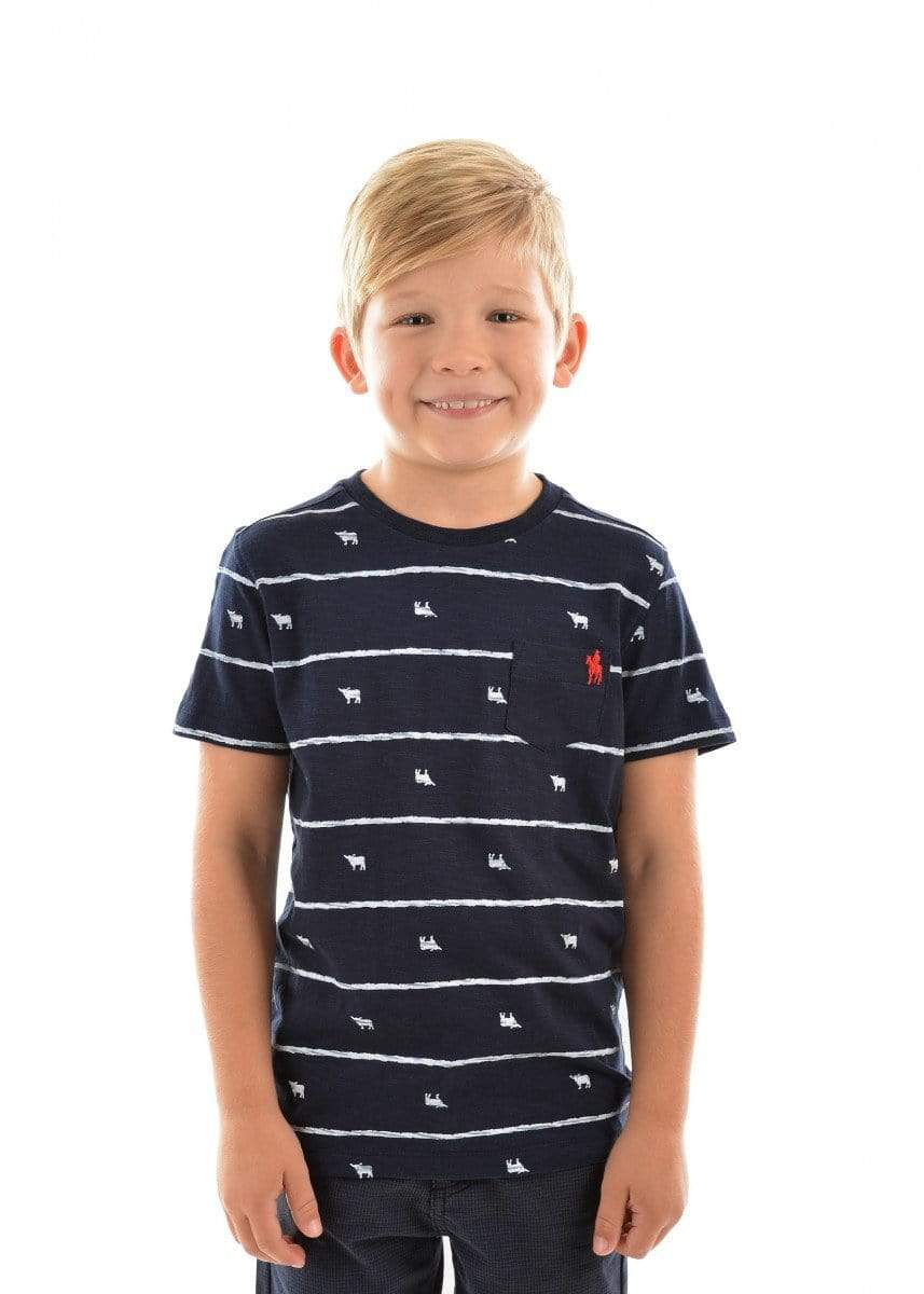 Thomas Cook Kids Tops Tee Thomas Cook T9S3516086 Boys Stripe Bull Tee Navy