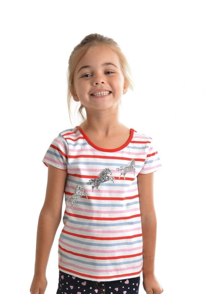 Tee Thomas Cook T9S5511082 Girls Jumping Horse Tee Gelati Mix - Gympie Saddleworld & Country Clothing