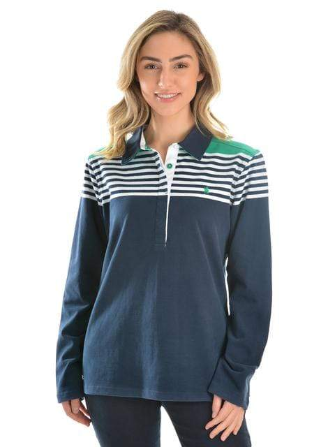 Thomas Cook Womens Jumpers & Hoodies 10 Thomas Cook Wodonga Stripe Rugby Teal