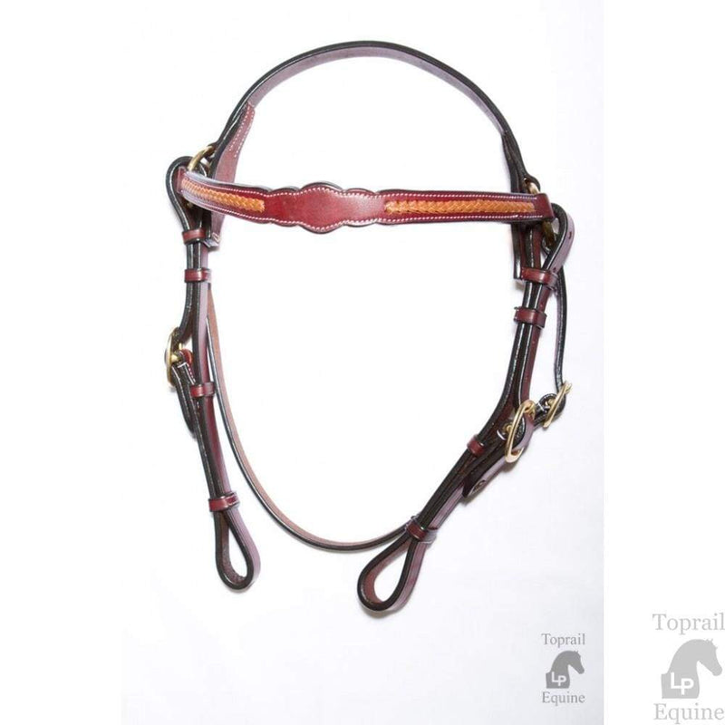 Toprail Leather Scalloped Bridle Light Tan No Studs - Gympie Saddleworld & Country Clothing