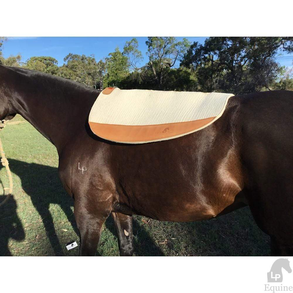 Top Rail Equine Western Saddle Pads 31 / White Top Rail Elite Performance Saddle Pad White Oval with Leather Wear Patches