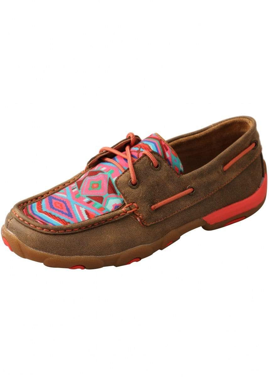 Twisted X Womens Casual Shoes 6.5 / Bomber/ Aztec Twisted X Coral Aztec Mocs TCWDM0011