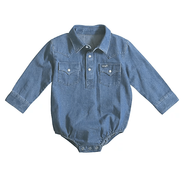 Wrangler Kids Tops 0-3 Months / Denim Baby Western Long Sleeve Bodysuit PQ4165D Denim