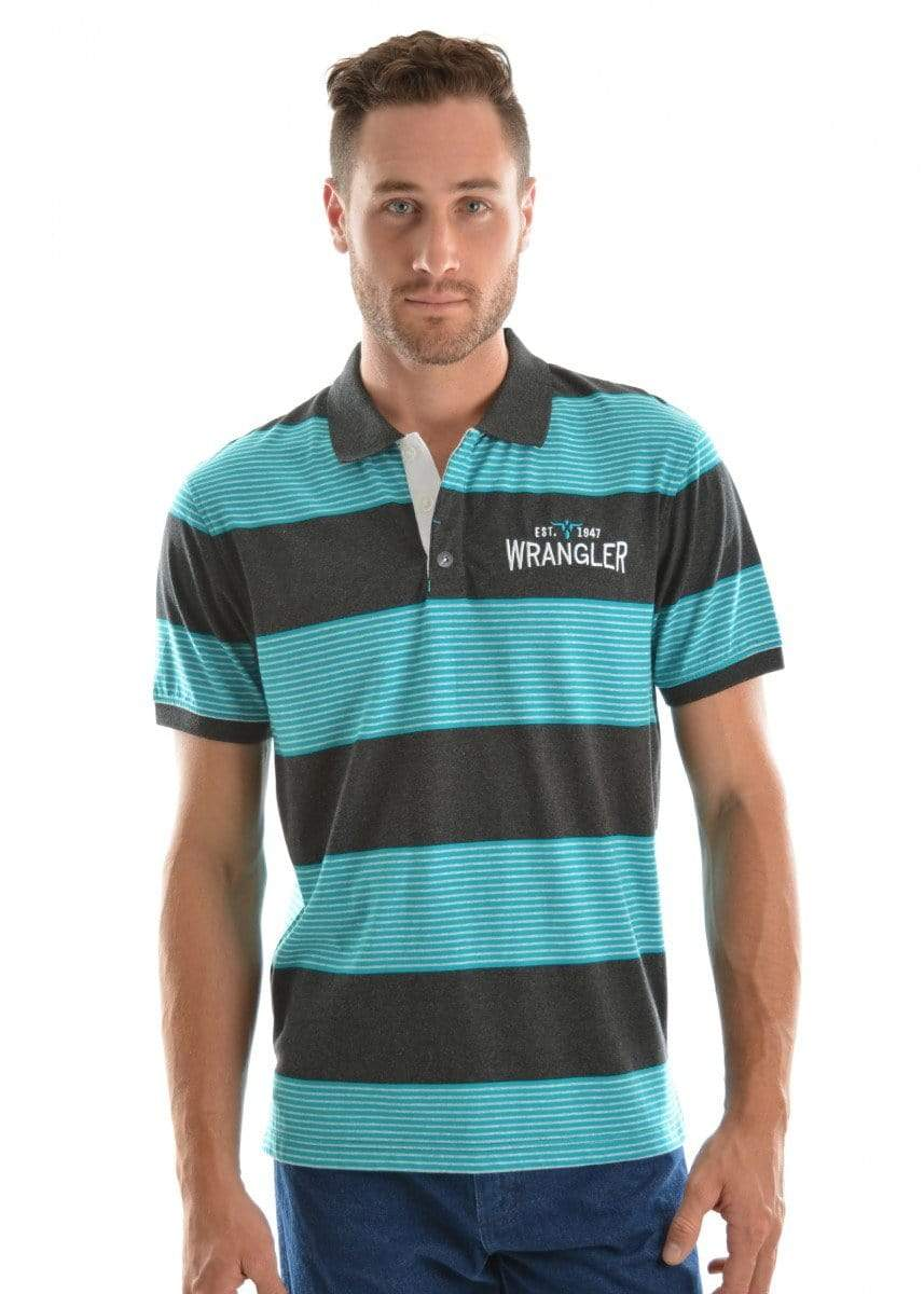 Wrangler Mens Nathaniel Polo Charcoal Marle/Teal - Gympie Saddleworld & Country Clothing