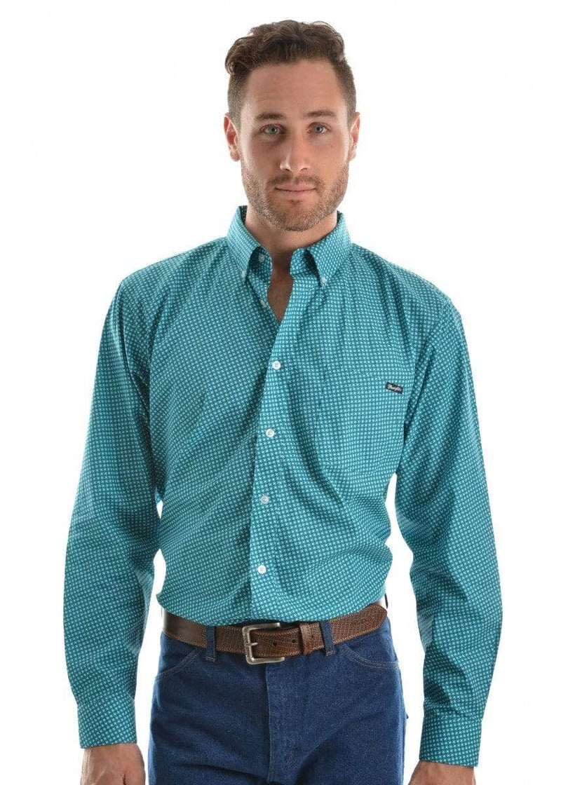 Wrangler Mens Miles Print Button Down Shirt Aqua/Coal X9S1115380 - Gympie Saddleworld & Country Clothing