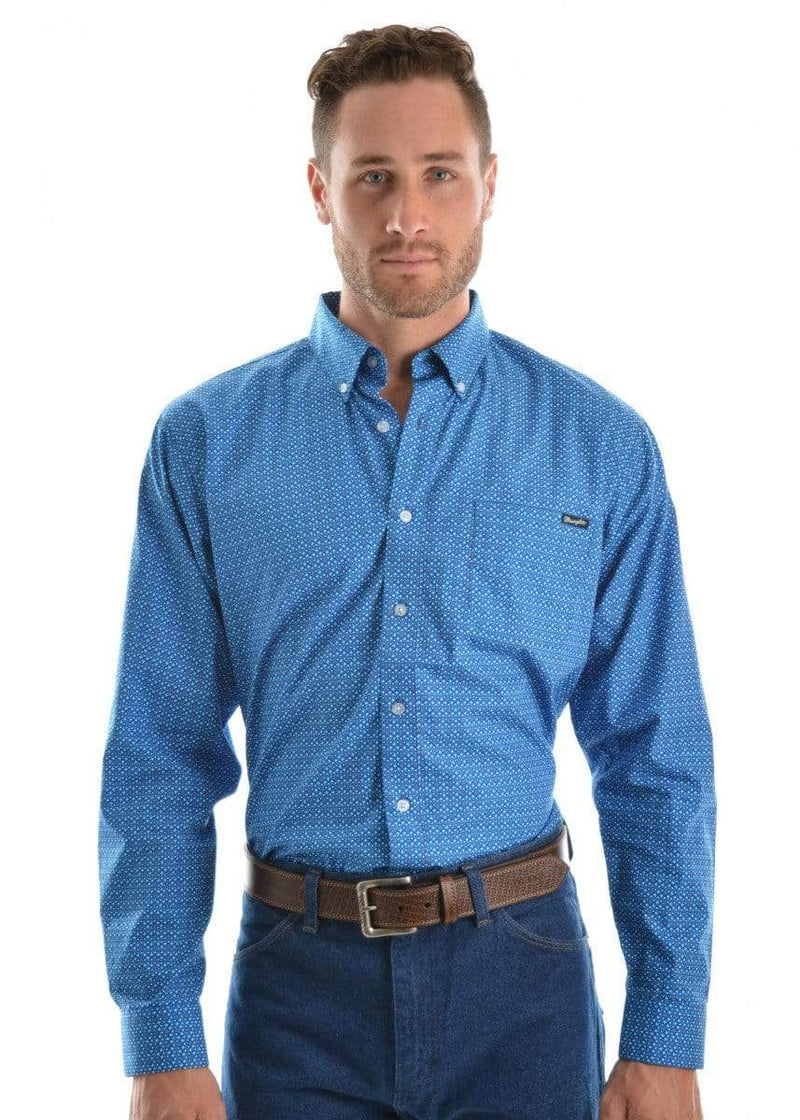 Wrangler Mens Warwick Print Shirt Deep Blue X9S1115381 - Gympie Saddleworld & Country Clothing