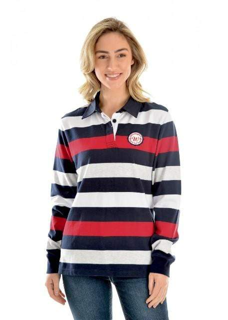 Wrangler Womens Jumpers & Hoodies 16 / Navy and Red Womens Wrangler Mandy Rugby