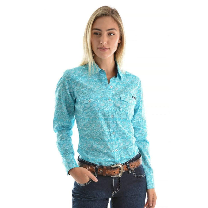 Wrangler Womens Tory Print Shirt Aqua - Gympie Saddleworld & Country Clothing