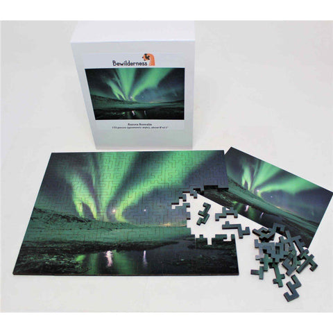 Northern lights puzzle for space lovers! A unique geometric wood jigsaw puzzle showing the Aurora Borealis.