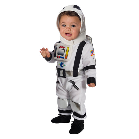 Baby astronaut halloween costume worn by infant child.