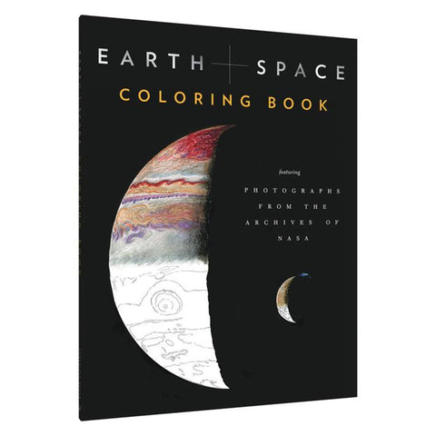A child or adult coloring book with photos of planets, galaxies, earth and outer space!