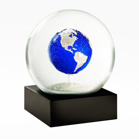 An earth snow globe made of glass. It comes in a gift box perfect for a space enthusiast!