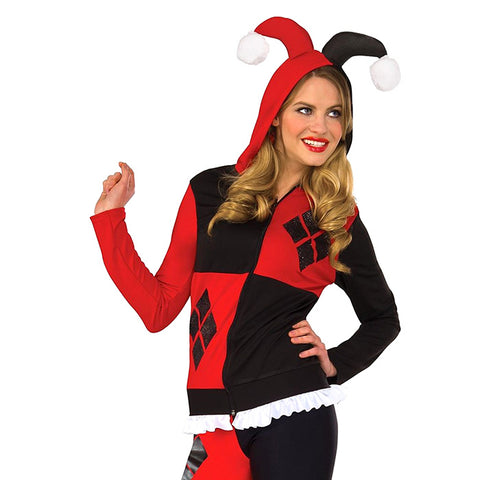 Harley Quinn sweater sweatshirt with jester hat hood! Adult Hoodie from Rubie's Costumes.