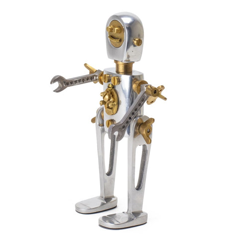 Karl robot phone stand with a steampunk retro space age look with wrench arms from Pendulux.