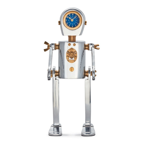 Karl robot clock with a steampunk retro space age look with adjustable wrench arms from Pendulux, for table or desk.