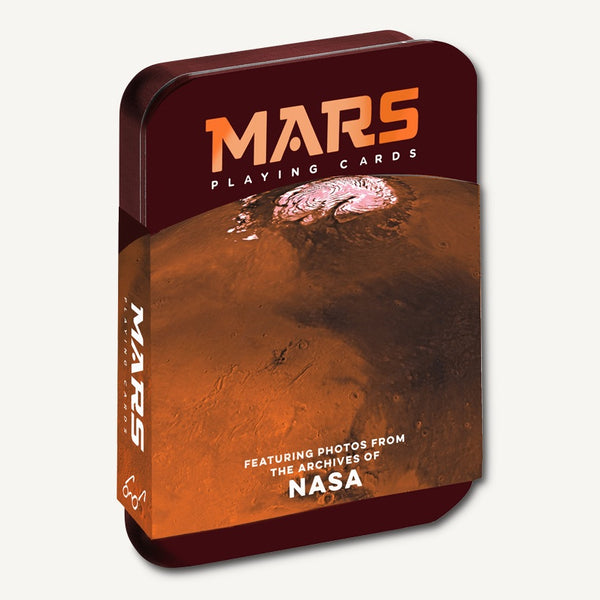 Front of Chronicle Books Mars cards space card deck with Mars photos from NASA