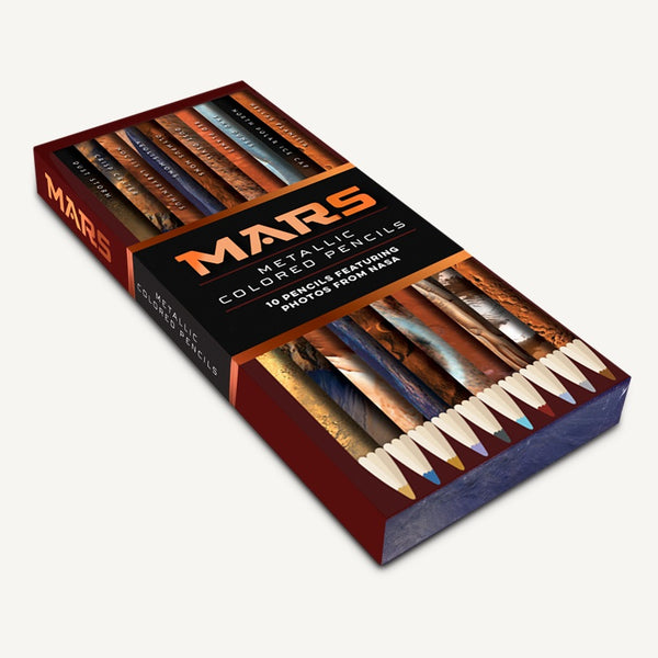 A colored pencil set featuring real photos of Mars from NASA.
