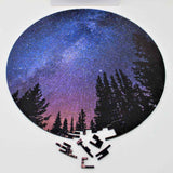 A beautiful space themed puzzle of Milky Way Galaxy at night. Made of wood. Bewilderness brand.