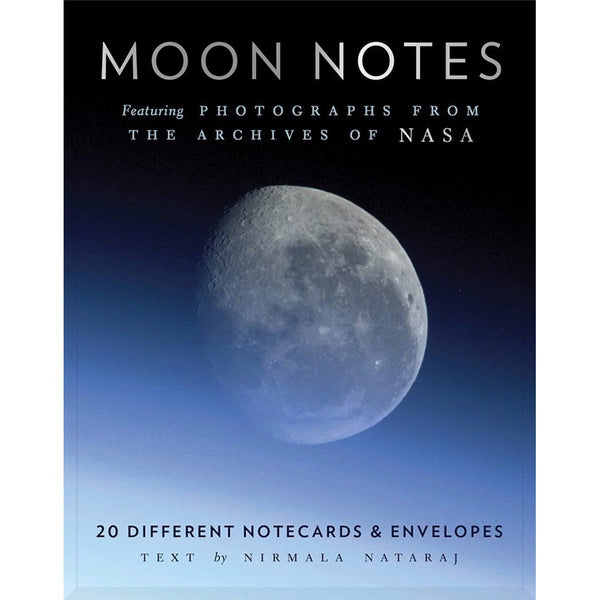 Front of box of Moon greeting cards set featuring 20 different photos from the archives of NASA! By Chronicle Books.