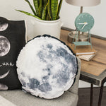 Moon pillow showing the surface of the moon. Space gift! Round throw pillow with velvet front and back.