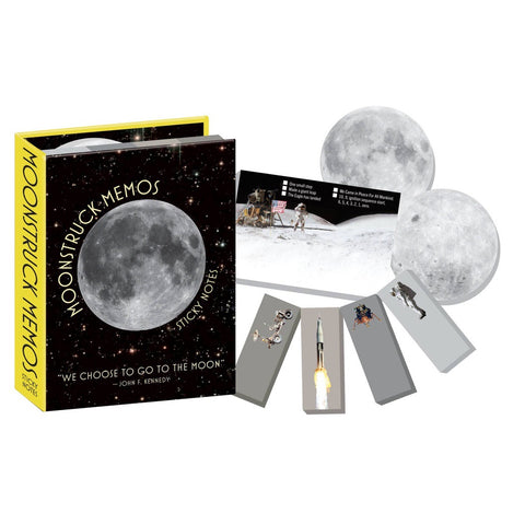 A space-themed moon sticky note set with round moons, astronauts, the moon landing and lunar lander, and NASA rockets!