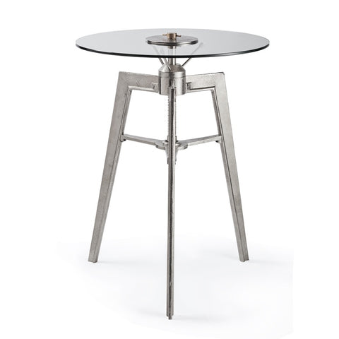"Space age table by Penulux with round glass top and three legs called ""Neptune""."