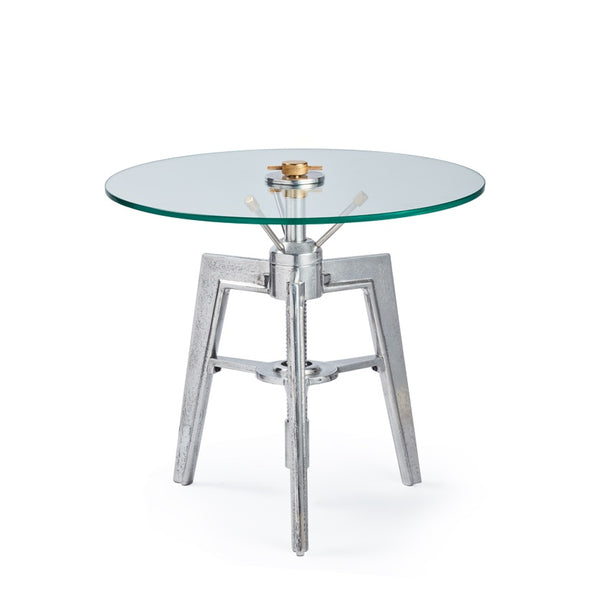 "Space age side table by Penulux with round glass top and three legs called ""Neptune""."