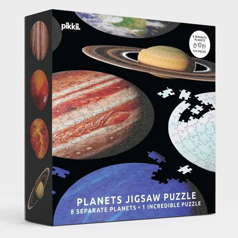 Front of box for Pikkii 8 planets solar system puzzle gift for space lovers