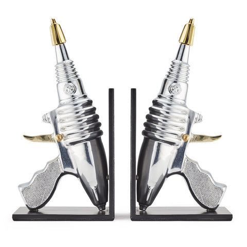 Retro space age bookends that look like Flash Gordon ray guns! From Pendulux.