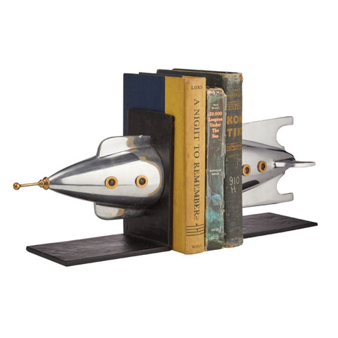 Rocket bookends by Pendulux. Aluminum and brass rocket ship bookends gift for space lovers!
