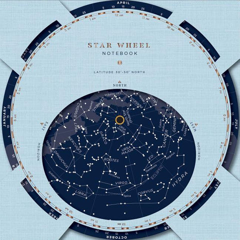 Front cover of constellation wheel book. See the star map tonight with this easy to use constellation wheel notebook!