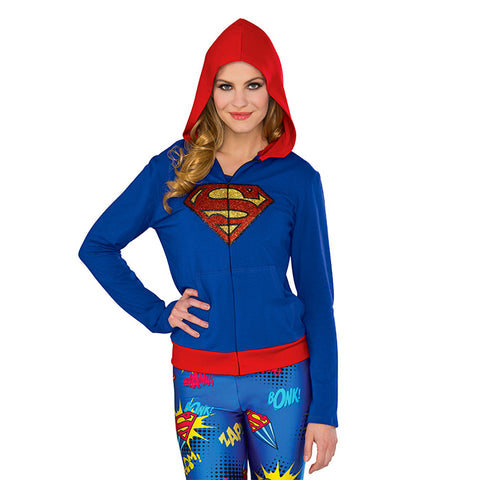 Supergirl sweater for adult or teen women, with red hood and glittery emblem, for costume or cosplay. From Rubie's Costumes.
