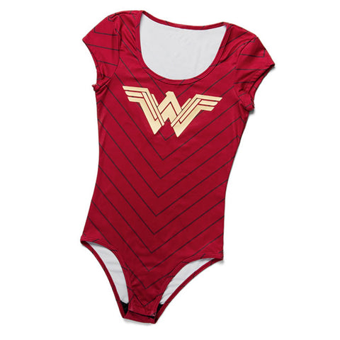 Wonder woman costume shirt bodysuit. Red with gold foil and stripes.