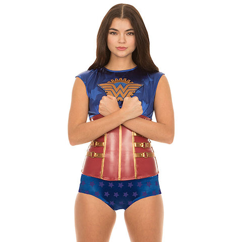 Wonder Woman costume top with a steampunk look, for adult women.