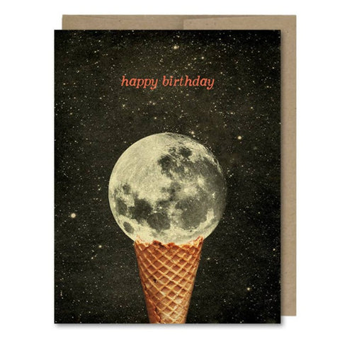 Happy Birthday Moon Ice Cream Cone Card