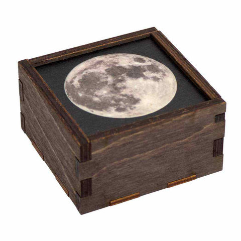 Small wooden moon trinket box or stash box