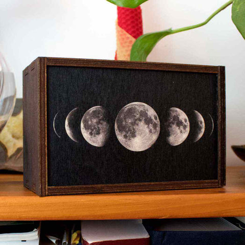 Wooden trinket box with phases of the moon