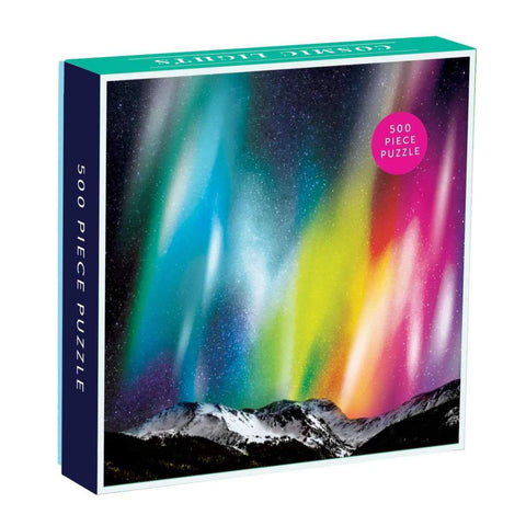 500 piece aurora borealis puzzle with space photo by Galison